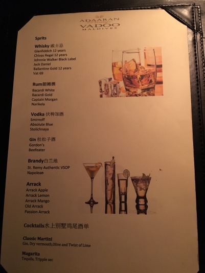 All Inclusive Drinks Menu